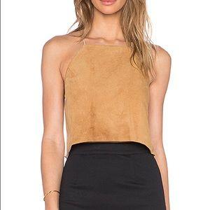 Cami NYC suede Silk cross back crop top camisole
